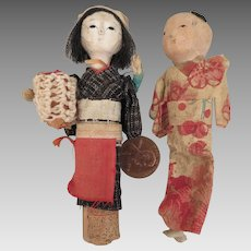 1940s-50s Vintage Mini Japanese Gofun Doll Pair 3.75 inches