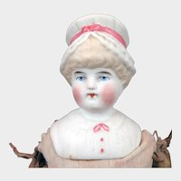 1900 Hertwig Bisque Bonnet Head Doll 12 inch