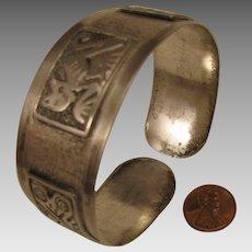 Vintage American Southwestern Coin Silver Cuff Bracelet