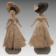 Antique Cloth Lady Doll 11 inches with Straw Hat