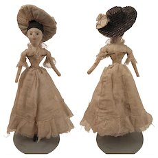 Antique Cloth Lady Doll 11 inches with Straw Hat - Red Tag Sale Item