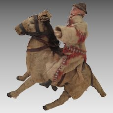 Antique Pancho Villa Doll on Donkey Wind Up Toy