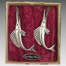 Vintage Sterling Silver Sailfish Brooch Pair