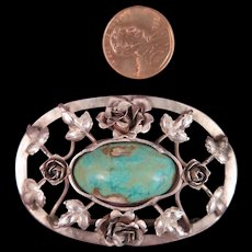 Antique Sterling Silver Turquoise Brooch - Red Tag Sale Item