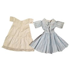 Antique Blue and White Cotton Dress plus Slip for 22 inch Doll