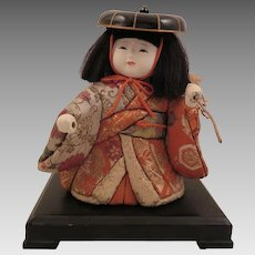 Vintage Japanese Kimekomi Gofun Doll with Stand