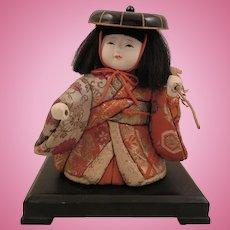 Vintage Japanese Kimekomi Gofun Doll with Stand