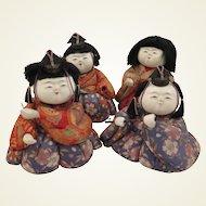 Set of 4 Japanese 1950s Kimekomi Dolls