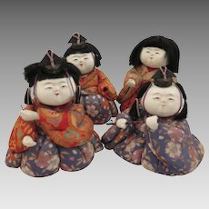 Set of 4 Japanese 1950s Kimekomi Dolls