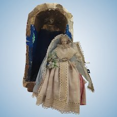 1860s German Poured Wax Doll in Niche