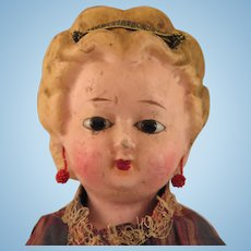 1870s Wax over Papier Mache Doll 20 inch