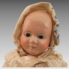 1860s German Wax Over Papier Mache Taufling Motschmann Doll 13.5 inch
