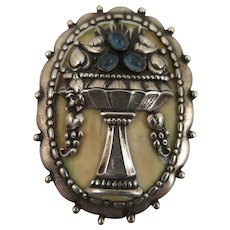 Antique 800 Silver Urn with Fruits Brooch