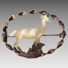 Victorian Carved Mother of Pearl Stag Deer14K Gold Brooch