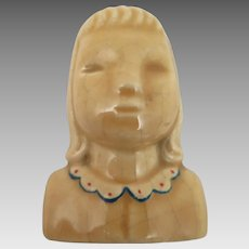 1940s Little Girl Glazed Ceramic Brooch