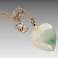 Vintage Jade Heart Pendant Necklace