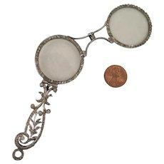 Edwardian Sterling Silver Rhinestone Lorgnette Pendant
