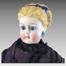 1870s ABG Parian Bisque Doll Glass Eyes Pierced Ears 14 inches