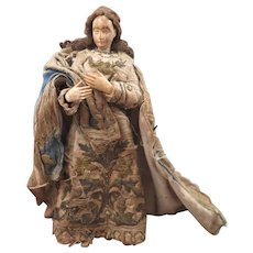 c.1800 Carved Creche Figure Doll 8 inches