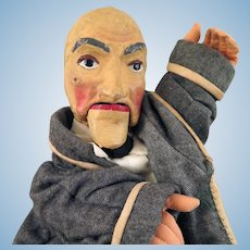 1930s-40s WPA Old Man Hand Puppet Doll 19 inches