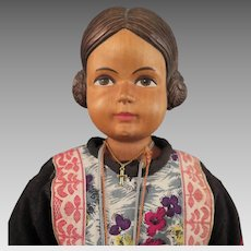 Vintage Swiss Wood Doll 18 inches