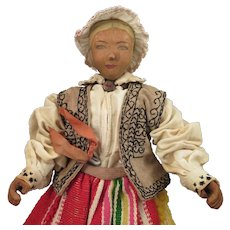 Vintage Swiss Wooden Doll 10 inches