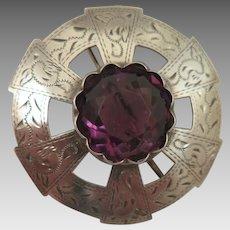 Antique Scottish Sterling Silver Amethyst Brooch