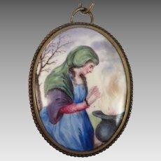 Antique Enamel Pendant Necklace