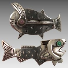Pair of Graziella Laffi Sterling Fish Brooch Peru