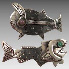 Pair of Graziella Laffi Sterling Fish Brooch Peru