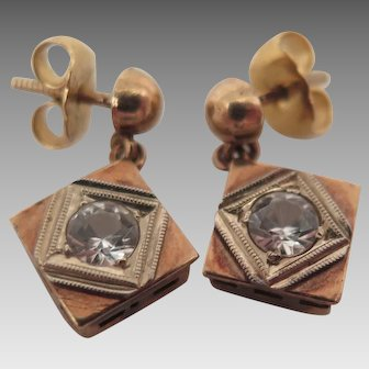 14K Gold Art Deco Pierced Earrings