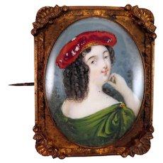 Antique Lady Portrait Miniature Brooch