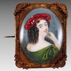 Antique Lady Portrait Miniature Brooch