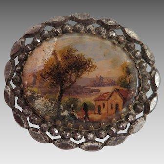 Victorian Miniature Painted Scene In Cut Steel Brooch