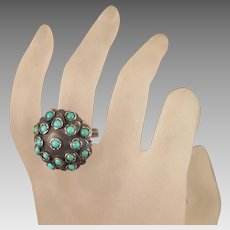 Vintage Polish Sterling Turquoise Ring Size 7