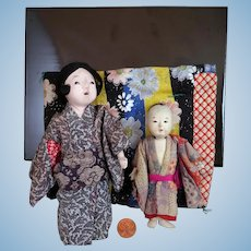 2 Japanese Miniature Ichimatsu Dolls
