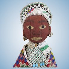 Vintage South African Bead Felt Doll 11 inches
