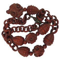 Antique Chinese Carved Hedaio Lohan Bead and Chain Necklace