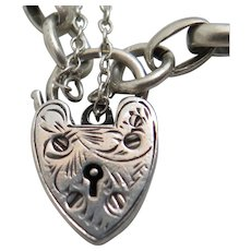 Victorian Sterling Silver Heart Padlock Charm Bracelet