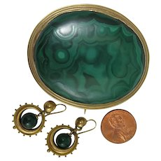 Victorian 18K Malachite Brooch plus Earrings