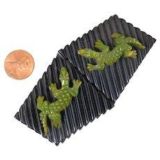 Bakelite Alligators Green and Black Buckle Pair