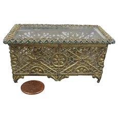 Antique Ormolu Filigree Jewelry Box