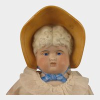 circa 1900 German Bisque Bonnet Head Doll 17 inch