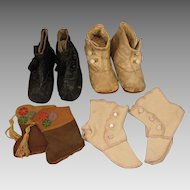 Group of 4 Antique Doll Baby Shoes for Large Doll