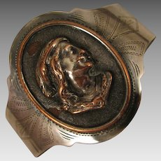 Antique Sterling and Copper Cameo Relief Bracelet Cuff