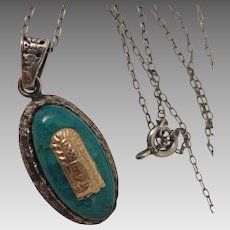 Vintage Sterling 18K Chrysocolla Pendant Necklace