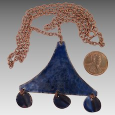 Vintage Blue Enamel Copper Pendant Necklace