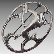 Vintage Sterling Silver Springbok Deer Brooch