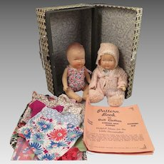 2 Small Composition Dolls Plus Trunk with Clothes and Pattern