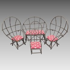 Vintage Metal Doll Furniture 4 pc Set